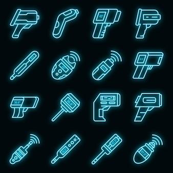 Zestaw ikon termometru cyfrowego wektor neon