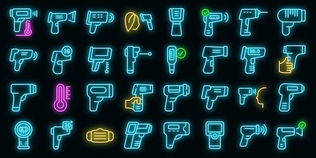 Zestaw ikon termometru laserowego wektor neon