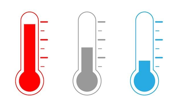 Zestaw ikon termometru z trzema różnymi poziomami.
