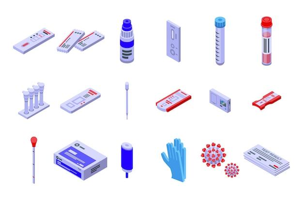 Zestaw ikon testu covida. izometryczny zestaw ikon wektorowych testu covid do projektowania stron internetowych na białym tle