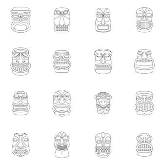 Zestaw ikon tiki idol aztec hawaje