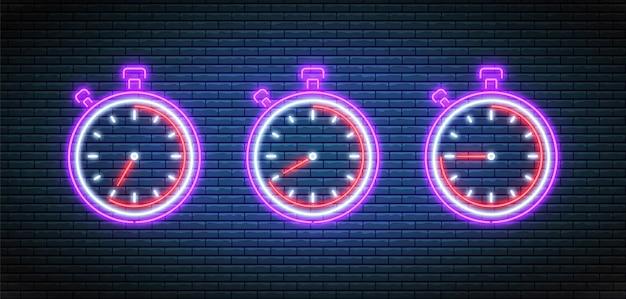 Zestaw ikon timera chronometru. zegary fluorescencyjne