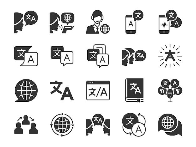 Zestaw ikon tłumaczenia.