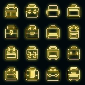 Zestaw ikon torby na laptopa wektor neon