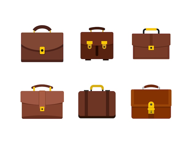 Zestaw ikon torebki skórzane. płaski zestaw skórzana torebka kolekcja ikon wektorowych na białym tle