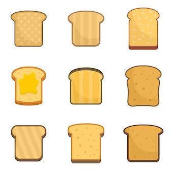Zestaw ikon tosty. płaski zestaw ikon wektorowych tosty na białym tle