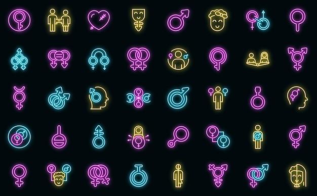Zestaw ikon tożsamości płciowej. zarys zestaw ikon wektorowych tożsamości płciowej w kolorze neonowym na czarno