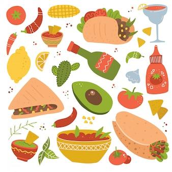 Zestaw ikon tradycyjnego menu meksykańskiego jedzenia, pyszne przepisy kulinarne, autentyczna kuchnia, posiłek festiwalowy.
