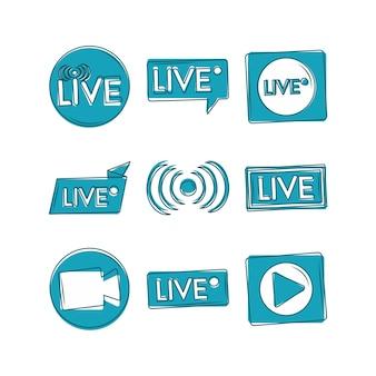 Zestaw ikon transmisji strumieniowej na żywo