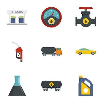 Zestaw ikon transportu benzyny, płaski