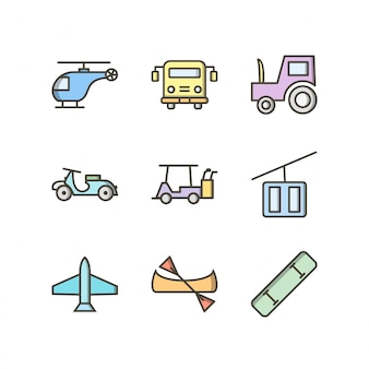 Zestaw ikon transportu do użytku osobistego i komercyjnego