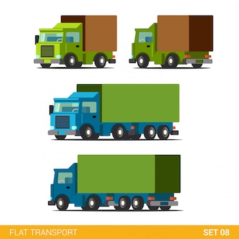 Zestaw ikon transportu drogowego płaski zabawny ładunek. samochód ciężarowy samochód ciężarowy silnik wagon.