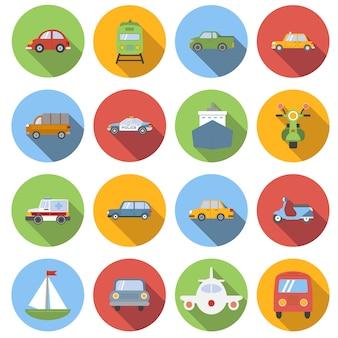 Zestaw ikon transportu, płaski
