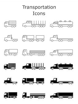 Zestaw ikon transportu. przyczepy dostawcze, wózki ładunkowe, wywrotki i wektor van