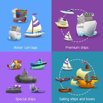 Zestaw ikon transportu wodnego