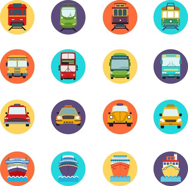 Zestaw ikon transportu. z wieloma typami pojazdów