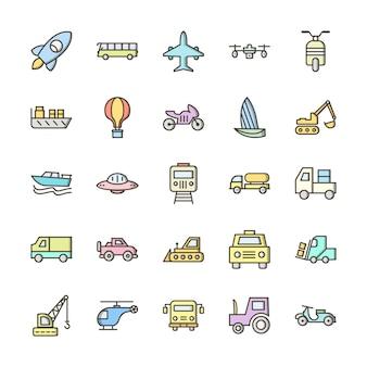 Zestaw ikon transportu