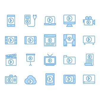 Zestaw ikon treści wideo