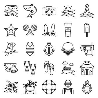 Zestaw ikon tropikalnych, ze stylem ikony konspektu