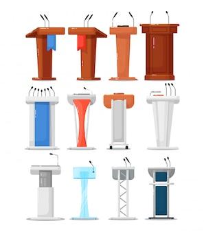 Zestaw ikon trybuny. debata podium tribune