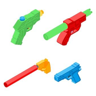 Zestaw ikon tryskać pistolet, izometryczny styl
