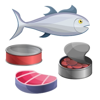 Zestaw ikon tuńczyka, stylu cartoon