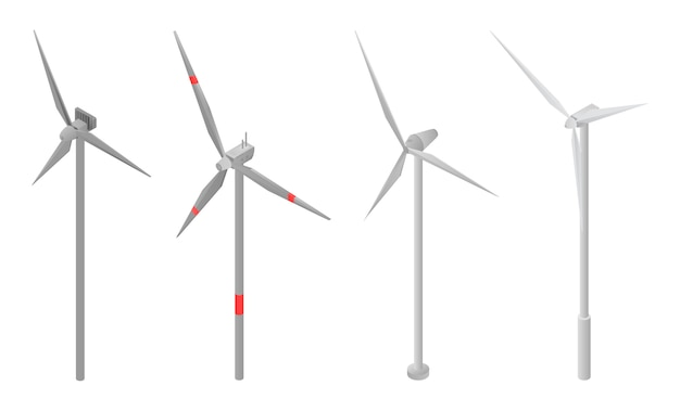 Zestaw ikon turbin wiatrowych, izometryczny styl