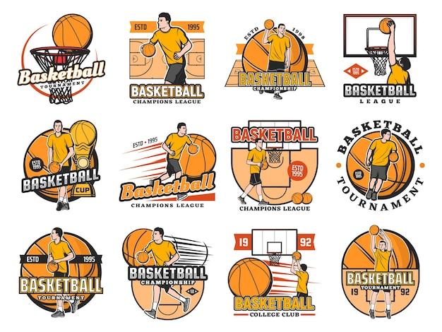 Zestaw ikon turnieju koszykówki, klubu uczelni lub mistrzostw ligi.