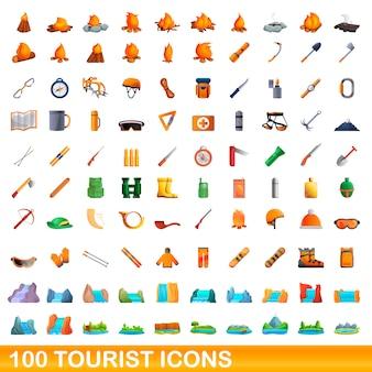 Zestaw ikon turystycznych, stylu cartoon