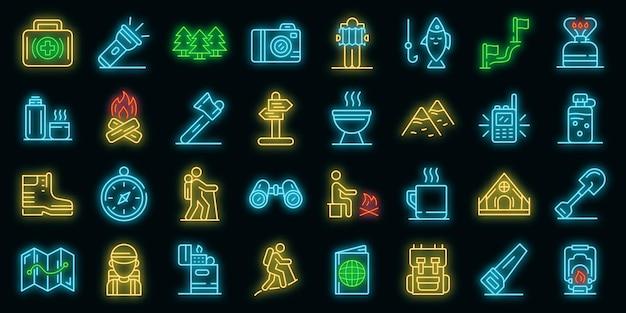 Zestaw ikon turystyka. zarys zestaw ikon wektorowych turystyka neoncolor na czarno