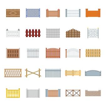 Zestaw ikon typów ogrodzeń