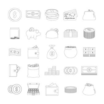 Zestaw ikon typów pieniędzy