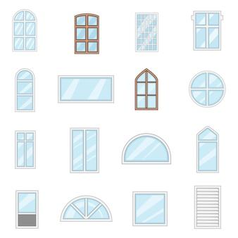 Zestaw ikon typów projektów okien
