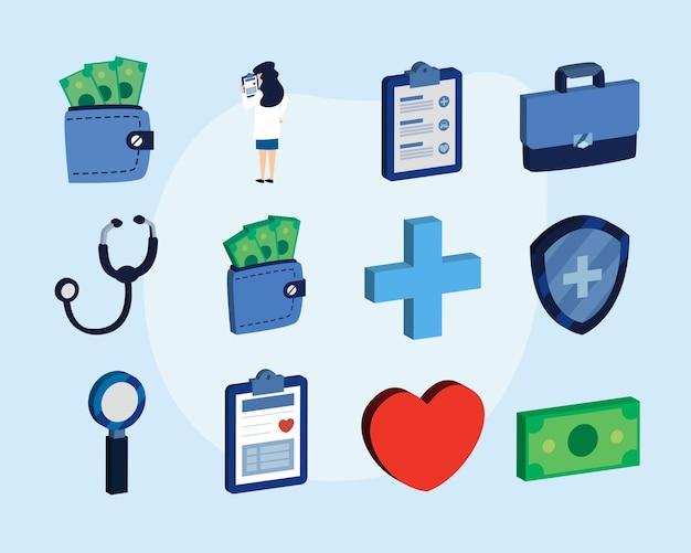 Zestaw ikon ubezpieczenia medycznego izometryczny