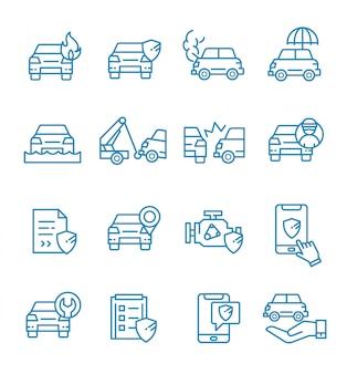 Zestaw ikon ubezpieczenia samochodu w stylu konspektu.