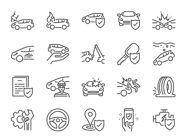 Zestaw ikon ubezpieczenia samochodu