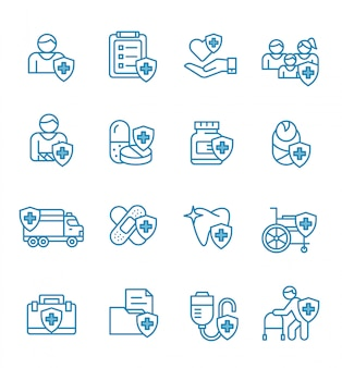 Zestaw ikon ubezpieczenia zdrowotnego w stylu konspektu.