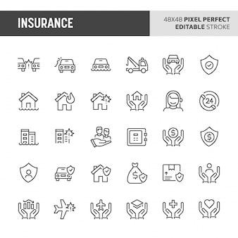 Zestaw ikon ubezpieczenia