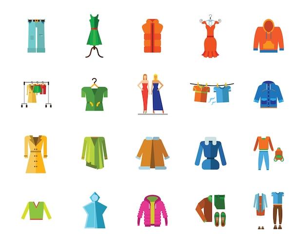 Zestaw ikon ubrania i moda
