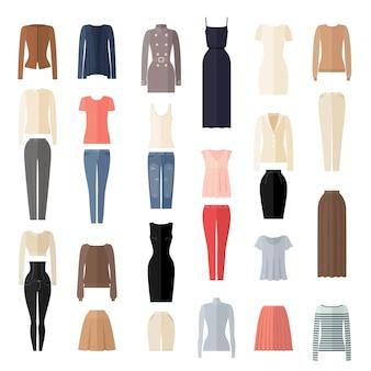 Zestaw ikon ubrania kobiet w stylu płaski.