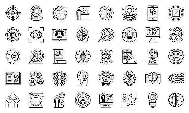 Zestaw ikon uczenia maszynowego, styl konturu