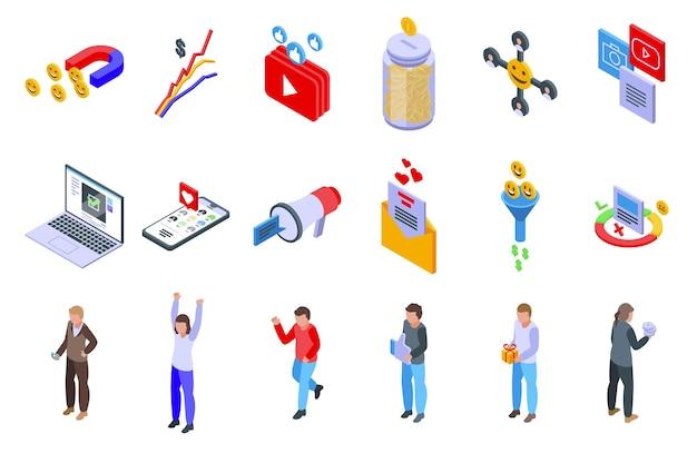 Zestaw ikon udanej kampanii. izometryczny zestaw ikon wektorowych udanej kampanii do projektowania stron internetowych na białym tle