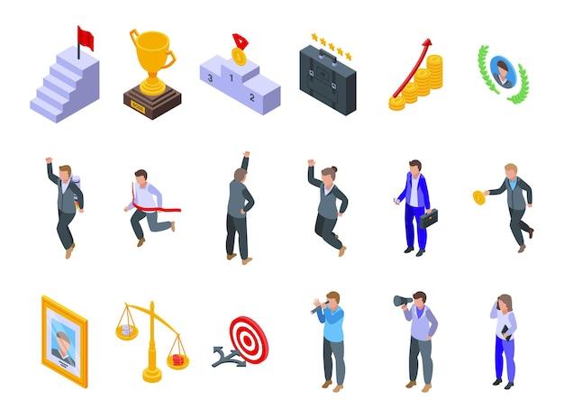 Zestaw ikon udanej kariery. izometryczny zestaw ikon wektorowych udanej kariery do projektowania stron internetowych na białym tle