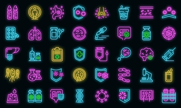 Zestaw ikon układu odpornościowego wektor neon