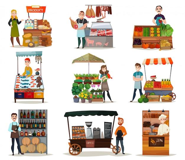 Zestaw ikon ulicy żywności