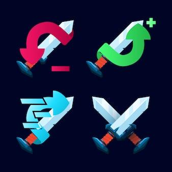 Zestaw ikon umiejętności fantasy gui miecz