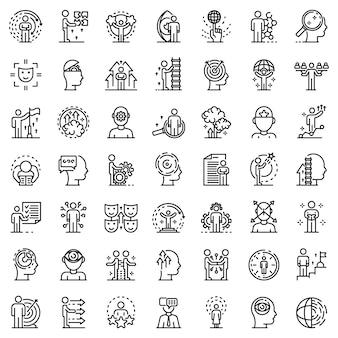 Zestaw ikon umiejętności życiowych, styl konturu