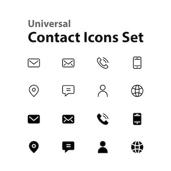 Zestaw ikon uniwersalnego kontaktu