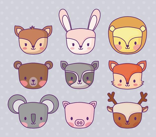 Zestaw ikon uroczych zwierzątek na fioletowym tle, kolorowy design. ilustracji wektorowych