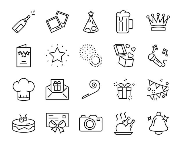 Zestaw ikon uroczystości, takich jak prezent, boże narodzenie, impreza, szampan, wydarzenie, urodziny